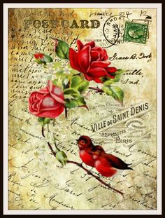 "Vintage Art Print Birds and Roses on Ephemera , Print Wall Decor, 8.5 x 11"" Unframed Printed Art Image"