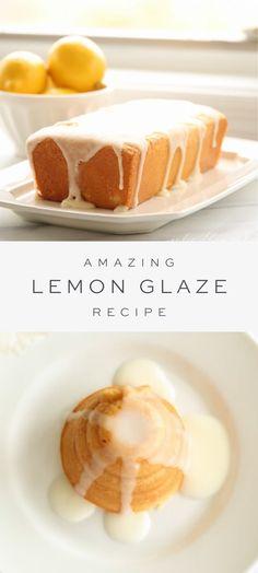 Köstliche Desserts, Lemon Desserts, Lemon Recipes, Delicious Desserts, Lemon Icing Recipe, Lemon Glaze Icing, Almond Glaze Recipe, Glazed Icing Recipe, Easy Icing Recipe