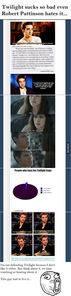 Even Robert Pattinson hates Twilight- I personally like it but still HE DOESN'T LIKE IT!