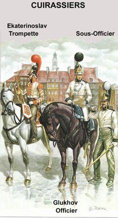 Line Cuirassier regiments 1805-08. Ekaterinoslav Trumpeter, Glukhov Officer & NCO.