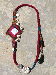 Ethnic necklace with vintage Banjara fabric and Siwa by EthnicTree, $100.00