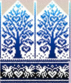 Stricken Ravelry: Tree of Love pattern by Natalia Moreva, Double Knitting Patterns, Knitted Mittens Pattern, Fair Isle Knitting Patterns, Knit Mittens, Knitting Charts, Knitting Stitches, Knitting Socks, Knitted Hats, Wrist Warmers