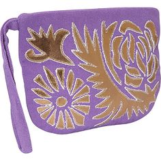 Moyna Handbags Cosmetic Pouch with Wristlet Purple/Gold - Moyna Handbags Fabric Handbags
