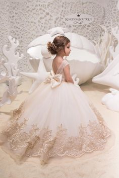 Ivory Cappuccino Lace Tulle Dress – Wedding Birthday Bridesmaid Holiday … – The World Wedding Dresses For Kids, Making A Wedding Dress, Dresses Kids Girl, Cheap Wedding Dress, Dress Girl, Tulle Wedding, Wedding Flowers, Gold Flower Girl Dresses, Dresses Dresses