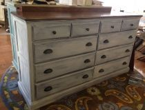 Custom painted maple dresser with distressed finish