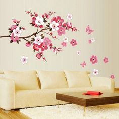 Cherry Blossom Wall Poster Waterproof Background Sticker for Bedroom Cafe wall stickers home decor pegatinas de pared 50 x - Hespirides Gifts Decoration Stickers, Nursery Wall Stickers, Removable Wall Stickers, Flower Wall Stickers, Wall Stickers Home Decor, Wall Stickers Murals, Wall Decals, Wall Art, Mural Art