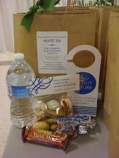 Out of Town Guests - water, soda in glass bottle, door hangs, chips, chewy/granola bar, Advil, and shuttle schedule, local shops/to dos, and who to call sheet. (Have gluten free bad for Denise)