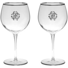 Roberto Cavalli Monogram Large Wine Glasses - Set of 2 - Platinum ($135) ❤ liked on Polyvore featuring home, kitchen & dining, drinkware, clear, lead crystal wine glasses, monogram wine glass, roberto cavalli glasses, silver rimmed wine glasses and platinum wine glasses