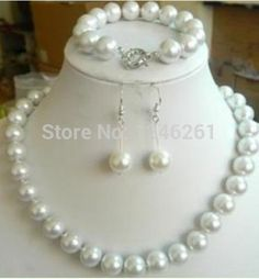 (Minimum Order1)1set Beautiful 10mm White Sea South Pearl Shell Necklace Bangle Earring Set Beads Jewelry Natural Stone 18inch
