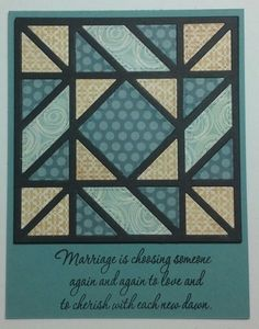 handmade quilt block card by muscrat  ... like the muted colors with black lines .. die cut ...