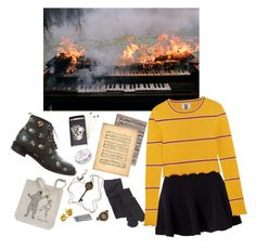 """the piano is not firewood yet"" by ineedsomecyanide ❤ liked on Polyvore featuring Miss Selfridge, Yves Saint Laurent, iCanvas, Tiffany & Co., Topshop Unique, D.L. & Co., Smith's, vintage, Hipster and Fire"