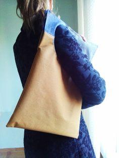squared circle bag yellow/jean/grey fabric