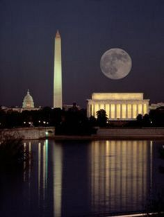 The CAPITOL, Washington Monument and The Lincoln Memorial....full moon over the Tidal Basin, West Potomac Park, Washington, DC.