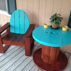 Front porch patio furniture. Electric wire spool table with matching chair!