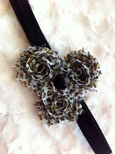 Leopard Print Shabby Chic Flower Headband Baby by BandsForBabes, $7.00