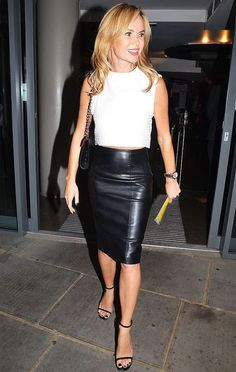 Amanda Holden shows off her stunning figure in racy leather pencil skirt and crop top Amanda Holden, Leather Dresses, Leather Mini Skirts, Sexy Skirt, Dress Skirt, Skirt Suit, Pencil Skirt Work, Pencil Skirts, Silhouette