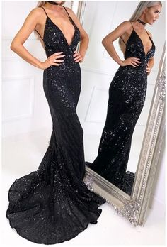 V+Neck+Black+Sequin+Prom+Dress Made+to+order,+can+be+made+with+any+change Fabric:+Sequin+Fabric Shown+Color:+Black Available+Color:+Black,+White,+Silver,+Red,+Navy,+Burgundy,+Royal+Blue,+Gold Available+Size:+Standard+Sizes+and+Custom+Sizes For+custom+size,+please+leave+your+following+me...
