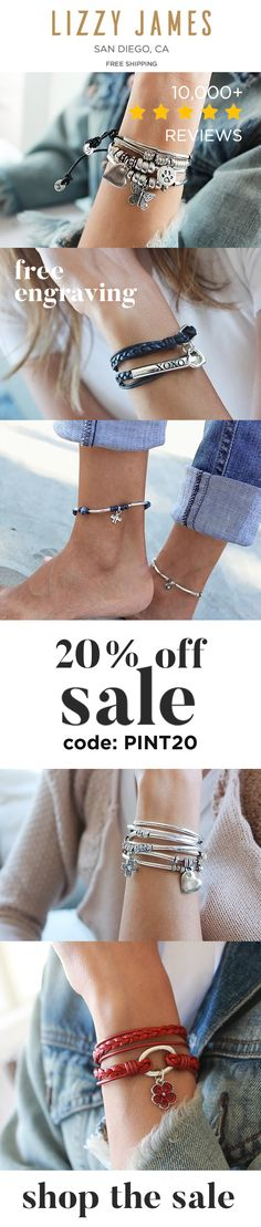 20% off with code PINT20 + INCLUDES FREE Shipping. Wrap bracelets with charms, necklaces, anklets and more! Stylish, stackable and customizable 30+ leather colors, 100+ charms from petite to xxxl plus size. Proudly made in San Diego, CA and now a Majority-Female, Employee-Owned Company!