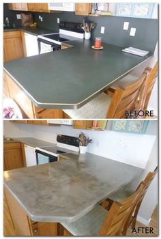 Kitchen Countertops Remodeling Concrete coutertops over laminate countertops - step-by-step - DIY Video Countertop Makeover, Diy Concrete Countertops, Outdoor Kitchen Countertops, Concrete Countertops Over Laminate, Laminate Worktops, Green Countertops, Kitchen Laminate, Kitchen Backsplash, Kitchen Cabinets