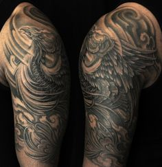Half sleeve black and grey Phoenix tattoo(3)