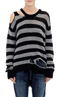 R13 Distressed Striped Sweater