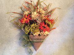 Fall floral arrangement, wicker umbrella display, wicker umbrella floral, Fall flower door hanging, fall daisies and chrysanthemums by StylishDecorbyGClark on Etsy