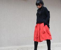 High-Waist Midi Coral Skirt, Custom Made Cute #high-waistskirt #midiskirt #coralskirt #custommadeskirt #cuteskirt #orangeskirt #skirtwithpockets #pleatedskirt #maxiskirt #fashionskirt #casualskirt #springskirt #cozyskirt