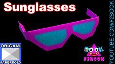 Origami Paper Sun Glasses for children -  Origami Video 58 (f2book)