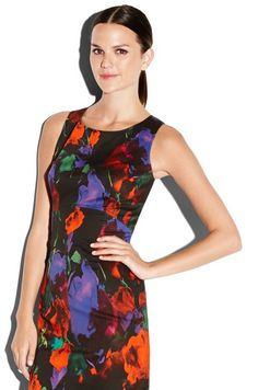 MILLY Floral Print Seamed Sheath Dress #red #pantonepretty #milly