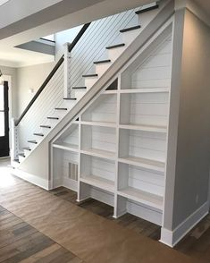 Finishing Basement Stairs Built Ins 69 Ideas For 2019 Foyer and Entryway Ideas B. : Finishing Basement Stairs Built Ins 69 Ideas For 2019 Foyer and Entryway Ideas Basement built finishing Ideas ins Stairs Stair Makeover, Basement Makeover, Basement Renovations, Home Remodeling, Basement Ideas, Basement Designs, Stair Shelves, Stair Storage, Entryway Storage
