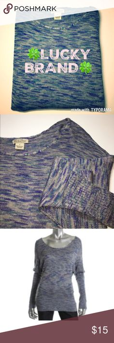 Lucky Brand Marled Sweater ✔Marled Blue Pattern ✔Slight Dolman Sleeve ✔No Holes or Stains ✔100% Rayon Lucky Brand Sweaters