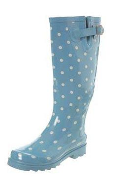 I am in love with my carolina blue rain boots with white polka dots!