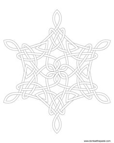 Snowflake Knot Coloring Page- in both jpg and transparent PNG format