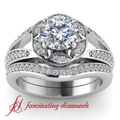 Split Band Halo Petite Diamond Engagement Bridal Set