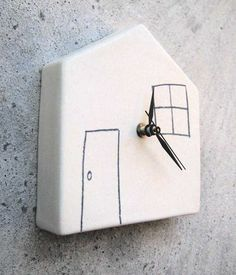 Ceramic Wall Clock, White Home - Reloj de pared en cerámica, blanco hogar