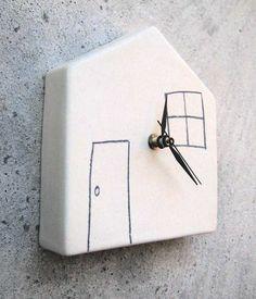 Ceramic Wall Clock, White Home - Reloj de pared en cerámica, blanco hogar