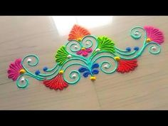 Design Discover 5 minutes rangoli design series easy and simple method in unique style by Jyoti Rathod Simple Rangoli Designs Images, Rangoli Designs Flower, Rangoli Designs Latest, Rangoli Border Designs, Small Rangoli Design, Colorful Rangoli Designs, Rangoli Designs Diwali, Kolam Rangoli, Flower Rangoli