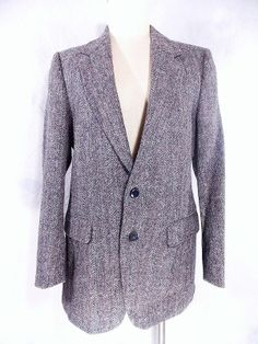 Harris Tweed Blazer Sz 40 Wool Blue Stripe Suit Jacket Scottish Coat Vintage