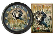 "Big Dog Retrieval Co 16"""" Vintage Ad Clock/Tin Sign Gift Set"
