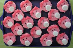 piggy cupcakes. add loops to marshmellows to make pacifiers and change ears to bows. @emilykinslowmesker