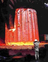 A reheated 600 tonne steel ingot at the Muroran plant (Image: JSW)