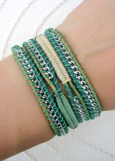 Chain Wrap Bracelet with Macrame in Sage and Champange Thread and a Button Clasp