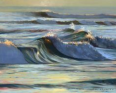 Silver Shorebreak.jpg - An oil painting of silver, green, and blue waves, painted against a pale sky by ocean painter Wade Koniakowsky. Available as a giclee print in many sizes.