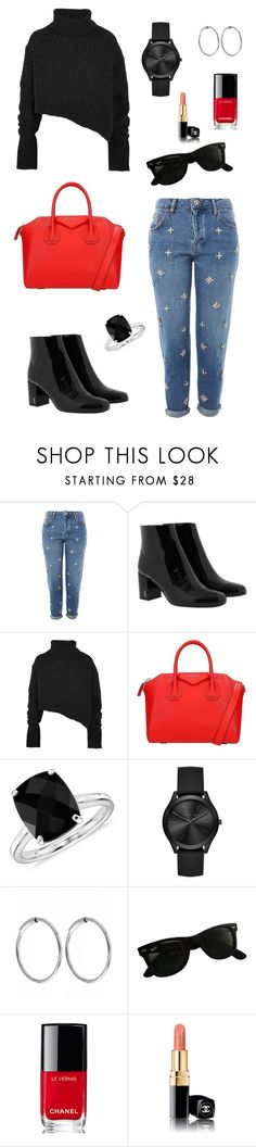 """""""Untitled #167"""" by saxcarolina on Polyvore featuring Topshop, Yves Saint Laurent, Ann Demeulemeester, Givenchy, Blue Nile, Michael Kors, Maria Black, Ray-Ban and Chanel"""