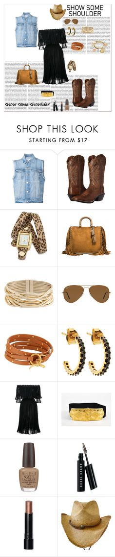"""GO ON AND BRUSH YA SHOULDERS OFF, THIS SEASON"" by g-vah-styles ❤ liked on Polyvore featuring Frame, Ariat, La Mer, Coach 1941, Rosantica, Ray-Ban, Tory Burch, Lola Rose, Alexander McQueen and OPI"