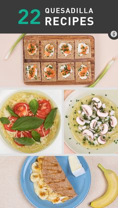 Whether looking for a healthy snack, post-workout meal, or something to satisfy those comfort food cravings, here are 22 quesadilla combos that would make Napoleon Dynamite's grandma proud. Chicken Lunch Recipes, Mexican Food Recipes, Food Network Recipes, Cooking Recipes, Healthy Snacks, Healthy Recipes, Quick Snacks, Diet Recipes, Eating Clean