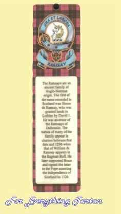 Ramsay Clan Tartan Clan Ramsay Badge Laminated Bookmark
