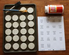 magnet chore chart  paint different colors of wood circles for different kids