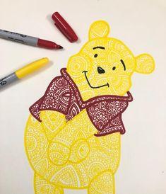 Doodle Art Drawing, Zentangle Drawings, Mandala Drawing, Zentangles, Disney Drawings Sketches, Cute Disney Drawings, Cute Drawings, Sharpie Drawings, Sharpie Art