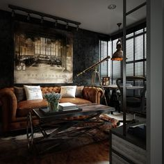 Here you may find out Amazing Home design for your Home. Certainly, it can help you a lot to make it looks great. Visit Dark Color For Small Apartment Interior Design With Exposed Brick Walls to learn more. Vintage Industrial Decor, Industrial Interior Design, Industrial Living, Industrial Interiors, Home Interior Design, Urban Industrial, Industrial Apartment, Industrial Style, Kitchen Industrial